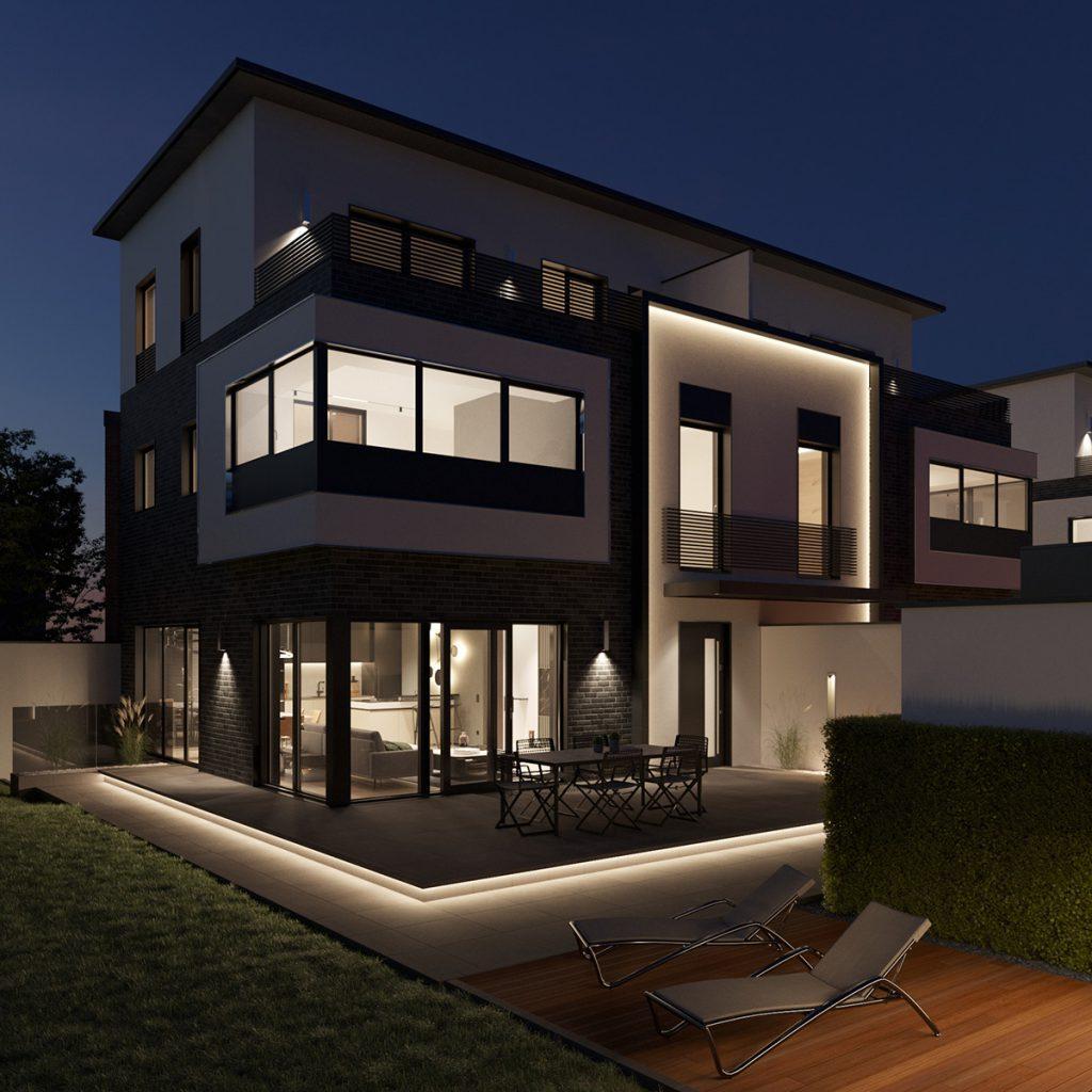 P74 Nachtansicht Haus mit Garten